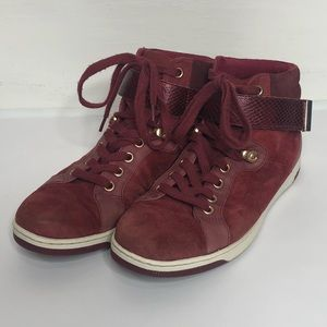 ALDO Maroon Leather & Suede High Top Sneakers